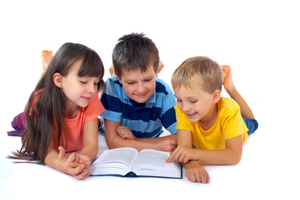 Kids reading book together